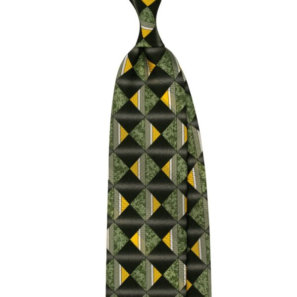 Printed silk tie with geometric motif made in Italy from Stefano Cau. Double face print in black, olive colors.