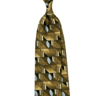 Double face printed silk tie in olive colour. The vintage design are inspired by Stefano Cau archives from 90's. Hand made in Italy