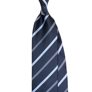 Classic stripe tie in navy and blue color. Custom made in Italy by Stefano Cau