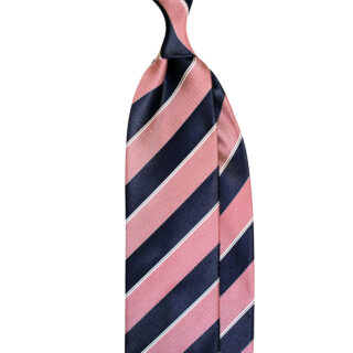 Double warp classic striped tie handmade in italy by Stefano Cau. In navy and red colours
