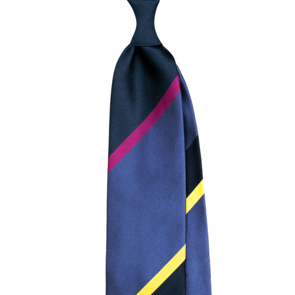 Blue striped silk tie custom made in Italy by Stefano Cau