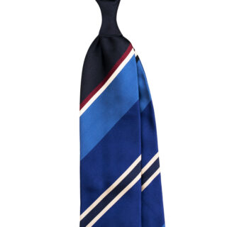 Personalized striped satin tie made in italy by Stefano Cau
